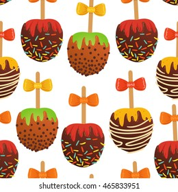 Vector seamless pattern with set of caramel apples. On white isolated background.