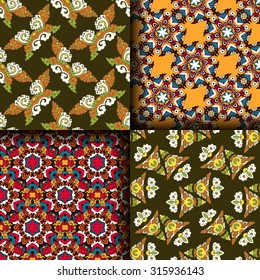 Vector seamless pattern set ethnic style background. Vintage decorative textures for wallpapers, backgrounds and page fill. Indian, arabic motive.