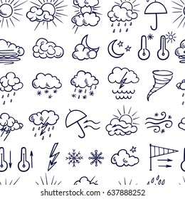 Vector seamless pattern with set of hand drawn weather icons. Beautiful design elements, ink drawing