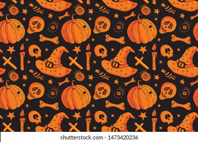 Vector seamless pattern set for happy Halloween. Background of Pumpkin, sweets, skull, candle, eye. Design for textiles, paper, Wallpaper, packaging, banner, postcard, invitation, postcard. Holiday