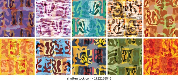 Vector seamless pattern set. Organic Matisse shapes. Natural earthy color floral underwater life. Abstract seaweed camouflage background. Trendy floating wavy geometry. Random layered hand drawn art.