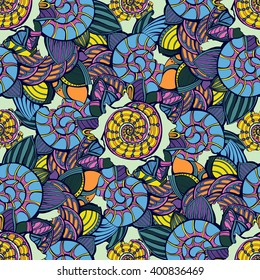 Vector seamless pattern with shells and leafs. Use for textile, wallpaper, web page background
