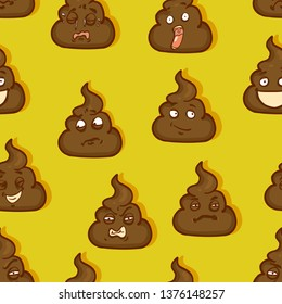 Vector Seamless Pattern of Shit Emoticons on Yellow Background