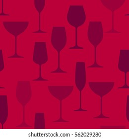 Vector seamless pattern with silhouette of wineglass. Will tile endlessly.