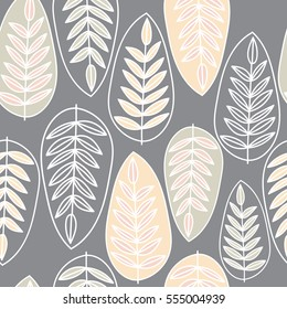 Vector seamless pattern with silhouettes of leaves. Pattern of leaves Scandinavian style on a dark background