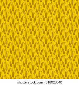 Vector seamless pattern with silhouettes of wheat ears. Whole grain, natural, organic background for bakery package, bread products. Vector illustration of growing rye field. Barley, corn texture.