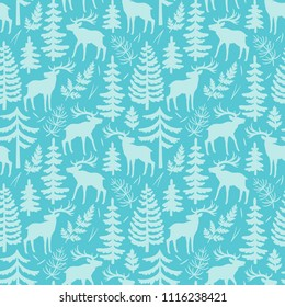 Vector seamless pattern with silhouttes of deer, trees and branches. Winter repeated texture with elegant animals and floral elements. Blue background with moose.