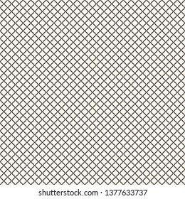 Vector seamless pattern, simple black and white geometric texture.  Simple monochrome illustration of mesh, fishnet, lattice, tissue structure. Endless abstract background. Subtle repeatable design