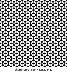 Vector seamless pattern, simple black & white geometric texture, monochrome illustration on mesh, lattice, tissue structure. Endless abstract background. Design element for prints, textile, digital