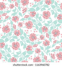Vector Seamless Pattern Simple Flat Design Silhouette Of Flowers With Branches Leaves And