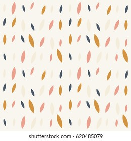 Vector seamless pattern with simple leaves and worn out retro texture. Scandinavian vintage style design background.