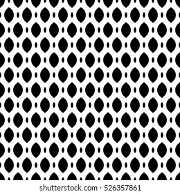 Vector seamless pattern, simple monochrome black & white geometric texture, illustration on mesh, lattice, tissue structure. Endless abstract background. Design element for prints, textile, digital