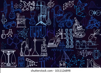 Vector seamless pattern with sketch elements related to science or education. Physics or chemistry abstract background with parts of decorative lab tools and diagrams. Hand drawn.
