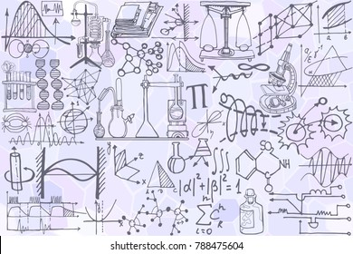 Vector seamless pattern with sketch elements related to science or education. Physics or chemistry abstract background with parts of decorative tools and diagrams on   white board. Hand drawn.