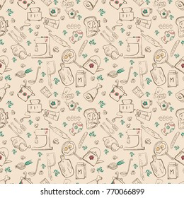 vector seamless pattern of sketch for kitchen accessories and food