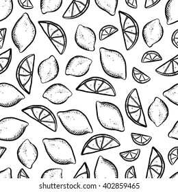 Vector seamless pattern with sketch lemons. Beautiful pattern with doodle lemons on white background. Handy drawn lemon pattern.