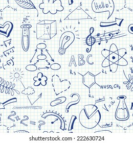 Vector seamless pattern with sketchy science symbols on a copybook paper
