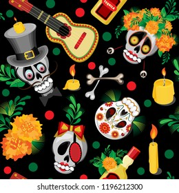 Vector seamless pattern. A skull in a cylinder and a skull in a wreath of barge trousers surrounded by flowers with leaves and guitars with tequila. Black background