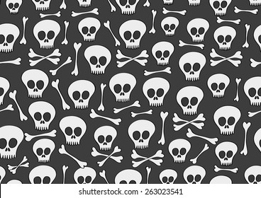 vector seamless pattern with skulls and bones on black background