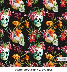Vector seamless pattern with skulls and lily flowers,vector wallpaper
