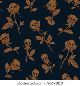 Vector seamless pattern with skulls and roses.