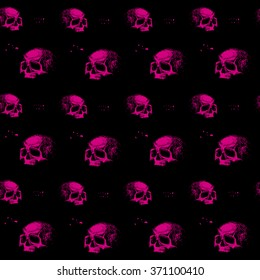 vector seamless pattern skulls of various sizes and forms, pink and black, print on t-shirt, fabric, backgrounds, grunge, painted marker ink, graphics