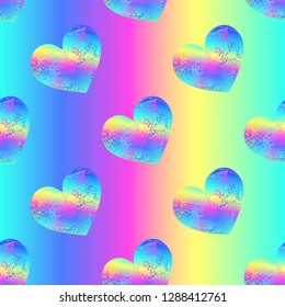 Vector seamless pattern with slant holographic shabby hearts with colorful streaks on the rainbow background.