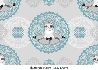 Vector seamless pattern sloth bear in lotus position. Yoga and meditation, ornament with mandalas. Design for printing on textiles, packaging, paper, wallpaper.