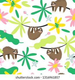 Vector seamless pattern with sloth and colorful tropical leaves and flowers