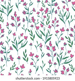 vector seamless pattern small flowers and twigs