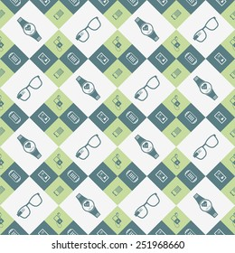 Vector seamless pattern of smart devices and electronics. Geometric pattern with elements of modern technology - stock vector