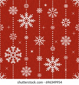 Vector seamless pattern with snowflakes. Christmas and New year decoration. Winter background. Pattern for fabric, textile, wrapping paper and other decoration. Vector illustration.