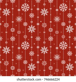 Vector seamless pattern with snowflakes. Christmas and New year decoration. Winter background. Pattern for fabric, textile, wrapping paper, wallpaper and other decoration. Vector illustration.
