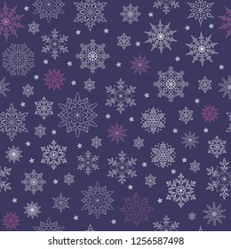 Vector seamless pattern of snowflakes and stars on a purple background. Thin delicate lines silhouettes of different snow elements. New year ornament.