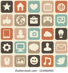 Vector seamless pattern with social media icons - abstract background