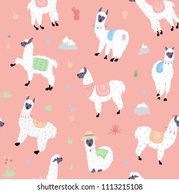Vector seamless pattern with south America cute llama with decorations. Isolated outline cartoon baby llama. Hand drawn Peru animal guanaco, alpaca, vicuna. Drawing for print, fabric