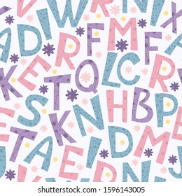 Vector seamless pattern with space letters. Star alphabet. Pink and blue colors. Stars and constellations