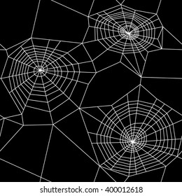 Vector seamless pattern. Spider web background texture on black background.
