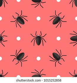 Vector seamless pattern with spiders and circles on red background