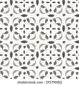 Vector seamless pattern with square elements. Hand drawn watercolor oriental ornament. Rustic monochrome decoration. For cards, banners, ethnic backgrounds.