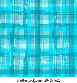 Vector seamless pattern with square hand drawn texture. Aquamarine checkered tablecloth.