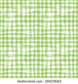 Vector seamless pattern with square hand drawn texture. Green checkered tablecloth.