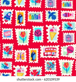 Vector seamless pattern of stamps.