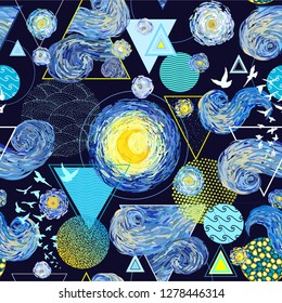Vector seamless pattern of starry sky, glowing yellow moon, circles, triangles and birds on white background. Vector illustration in impressionist painting style and modern geometric minimalism.
