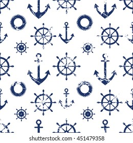 Vector seamless pattern. Steering wheel, life preserver, anchor. Creative geometric grunge background, nautical theme. Texture with cracks, ambrosia, scratches, attrition. Graphic illustration.