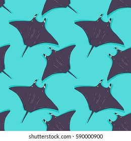 Vector seamless pattern with stingray, ray fish illustration. Animal in the wild - hand drawn sketch, marine life swimming animal wallpaper