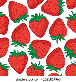 Vector seamless pattern with strawberries. Graphic stylized drawing.