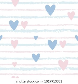 Vector seamless pattern of stripes and hearts. Gentle pastel background.
