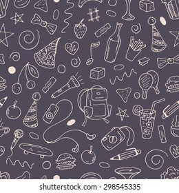 Vector seamless pattern with stuff of leisure - beer, food, music, drinks, ping pong, coffee, camera and others on dark background