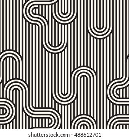 Vector seamless pattern. Stylish graphic texture. Endless striped monochrome background with winding elements.